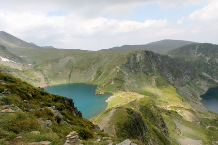 Incredible mountain view with blue water lakes in Rila lakes, Bulgaria