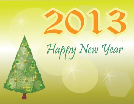 new year s card: New Year s Card with Christmas tree on golden background Illustration