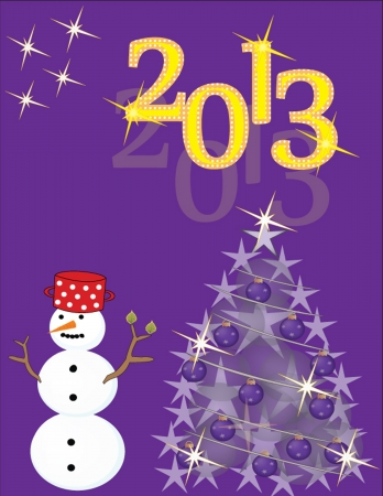 New Year s card with snowman and christmas tree on violet background Vector