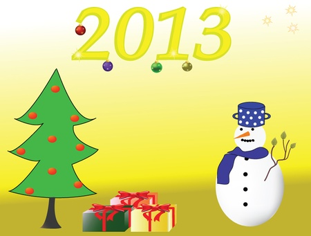 New Year s card with funny snow man and christmas tree on violet background
