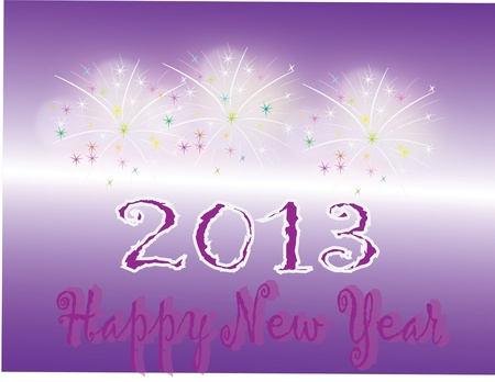 new year s card: New Year s card with fireworks on purple background