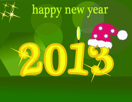New Year s card on green background with candlelight