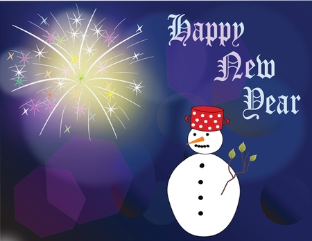 New  Year scard on blue background with fireworks and snowman