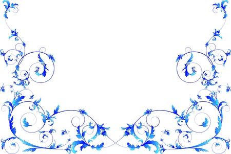Blue floral frame     Stock Vector - 13217057