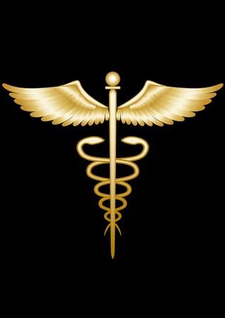 medicine logo: Caduceo de oro