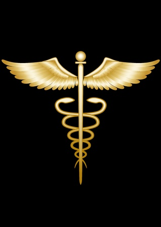 medical emblem: Golden caduceus  Illustration