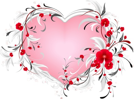 floral wreath: Floral heart  Illustration