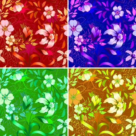 classical style: Floral wallpaper  Available in 4 colors  Illustration