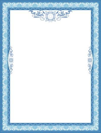 congratulating: Frame for diploma  Blue  Illustration