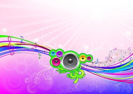 Musical flowing background  Illustration