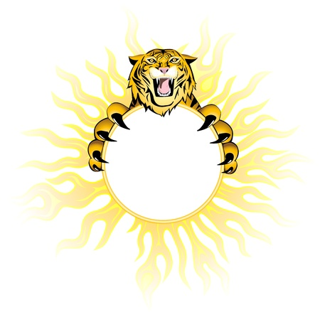 snarling: Fiery  tiger  Decorative element may be frame and background  Illustration