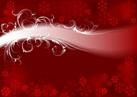 Winter background  Red  Ilustracja