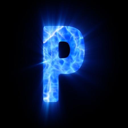 blue fire: Plasma font  P