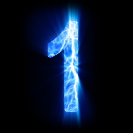 Plasma numeral  1  Stock Photo