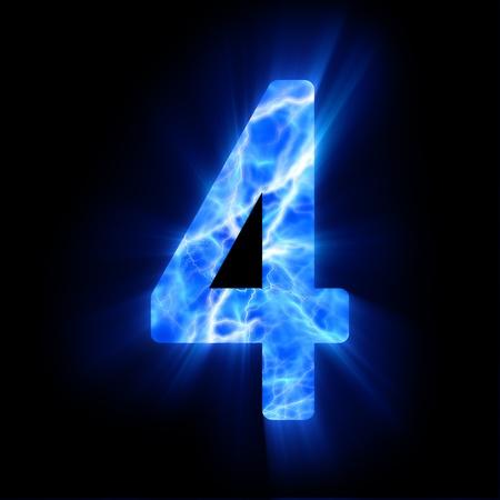 Plasma numeral  4  Stock Photo