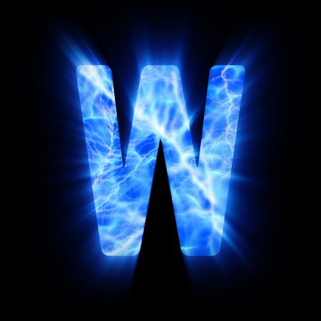 Plasma font  W  Stock Photo