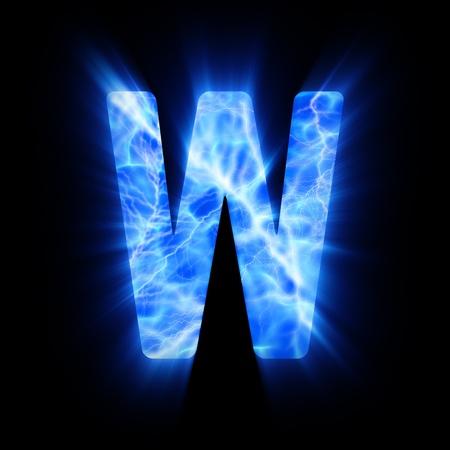 burning alphabet: Plasma font  W  Stock Photo