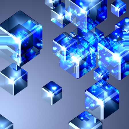 Background with blue glass cubes