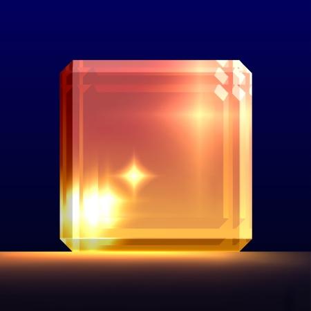 Glowing glass cube.