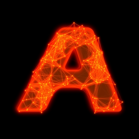 Font with glowing elements   Letter A  photo
