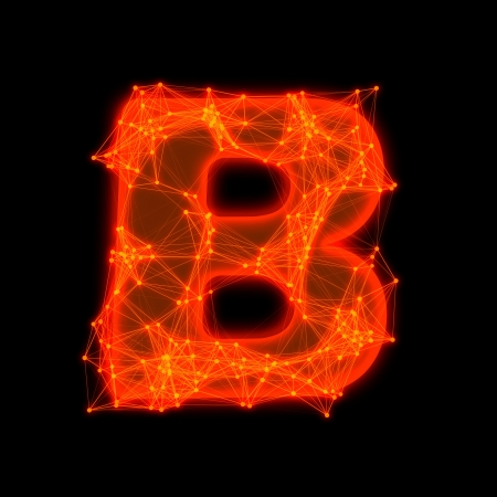 Font with glowing elements   Letter B  photo