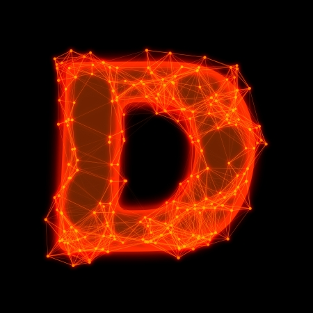 Font with glowing elements   Letter D  Фото со стока