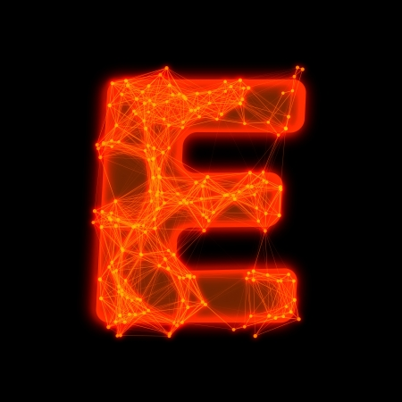Font with glowing elements   Letter E  Фото со стока