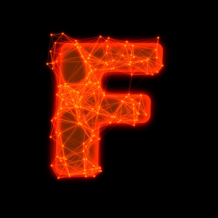 Font with glowing elements   Letter F  photo