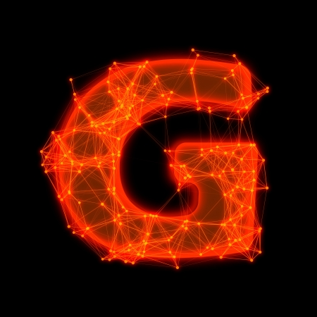 Font with glowing elements   Letter G  Фото со стока
