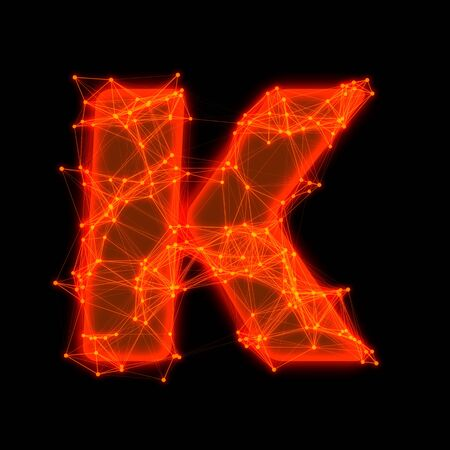 Font with glowing elements   Letter K  Фото со стока