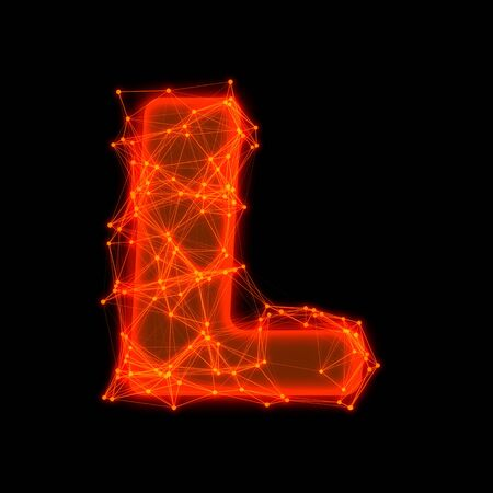 Font with glowing elements   Letter L  photo