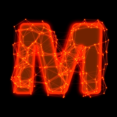 Font with glowing elements   Letter M  photo