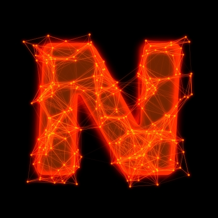 Font with glowing elements   Letter N  Фото со стока