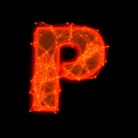 Font with glowing elements   Letter P  Фото со стока