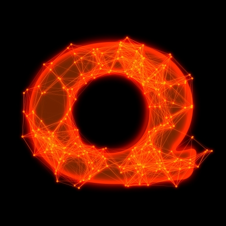 Font with glowing elements   Letter Q  photo