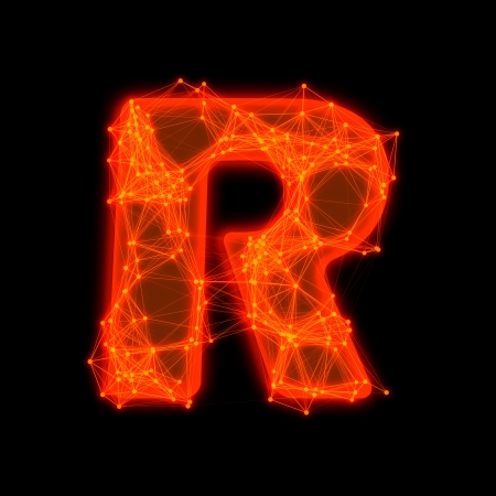 Font with glowing elements   Letter R  photo