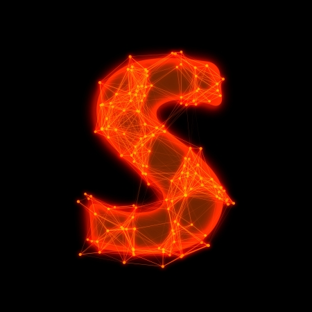 Font with glowing elements   Letter S  Фото со стока
