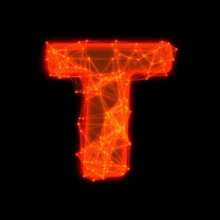 Font with glowing elements   Letter T  photo