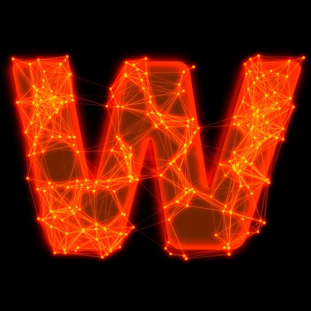 Font with glowing elements   Letter W