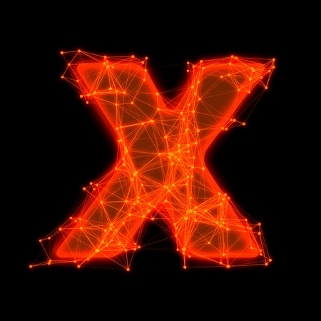 Font with glowing elements   Letter X  photo