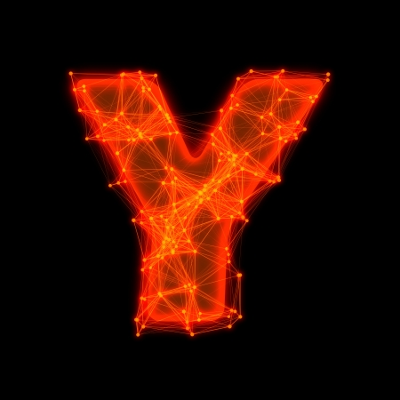 Font with glowing elements   Letter Y  photo