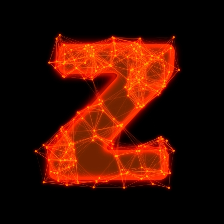 Font with glowing elements   Letter Z  photo