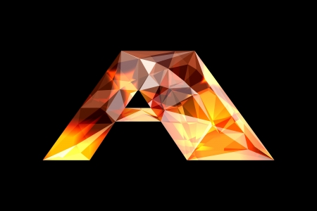 Crystal letter A, isolated on black background.