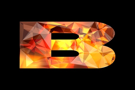 Crystal letter B, isolated on black background.