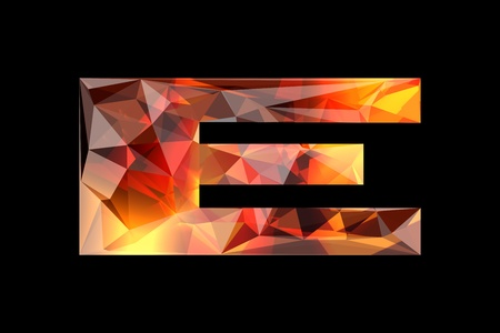 Crystal letter E, isolated on black background  Фото со стока