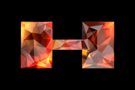 Crystal letter H, isolated on black background  Stock Photo