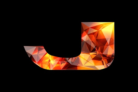 Crystal letter J, isolated on black background