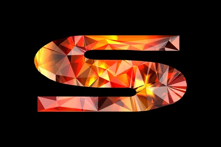Crystal letter S, isolated on black background