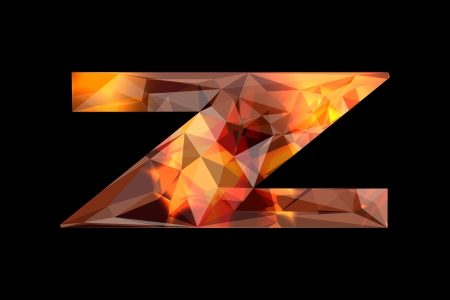 Crystal letter Z, isolated on black background