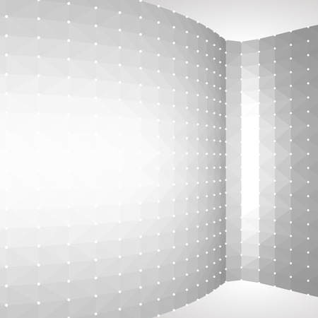 White geometric design.